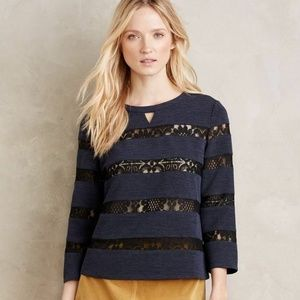 New Anthropologie Laced Stripe Top by Haryln